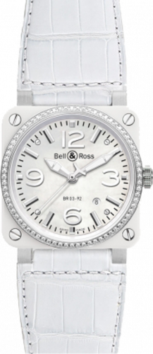 Bell & Ross Aviation White Ceramic Diamond BR 03-92 White Ceramic Diamond