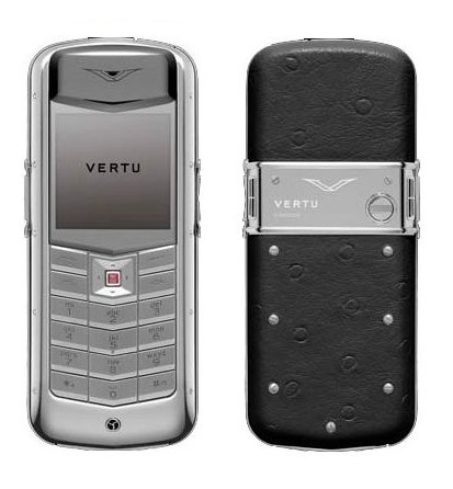 Vertu Constellation Exotic Polished Stainless Steel Black Ostrich Skin
