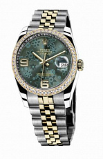 Rolex Datejust 36mm Steel and Yellow Gold Green Floral 116243