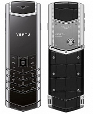 Vertu Signature S Design Stainless Steel Diamonds Black Alligator