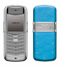 Vertu Constellation Exotic Polished Stainless Steel Aqua Ostrich Skin