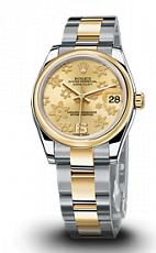 Rolex Datejust 31mm Steel and Yellow Gold 178243 Champagne Floral