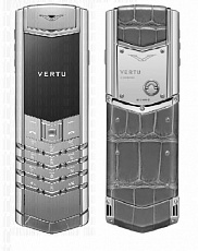 Vertu Signature S Design Sapphire White Gold Grey Alligator