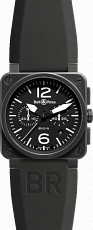Bell & Ross Aviation BR 03-94 42mm Chronograph Carbon BR 03-94 Black&White Rubber